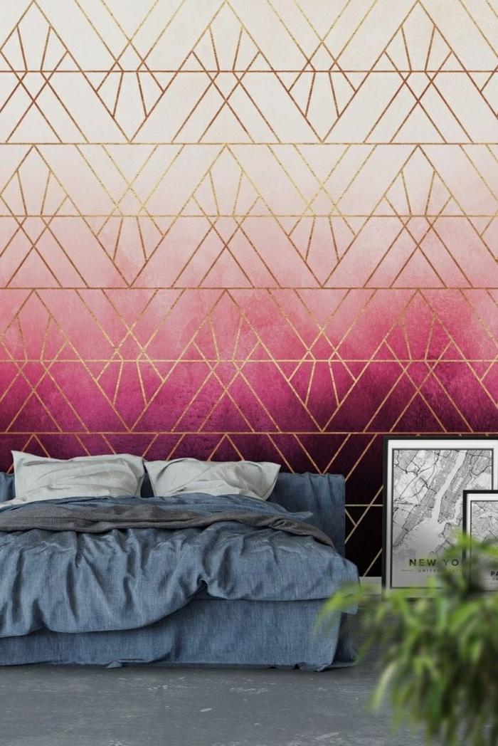 déco chambre adulte effet tie and dye mur