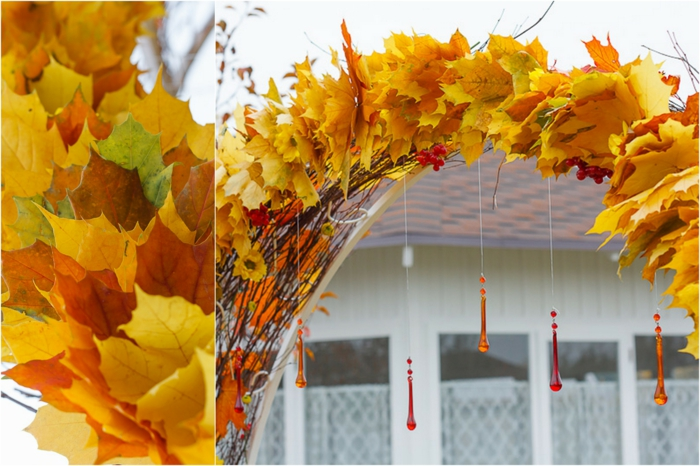 déco extérieur arche en feuilles d'arbre activités manuelles automne