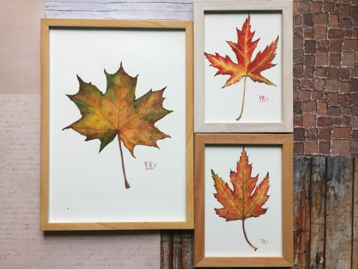 déco murale activités manuelles automne avec des feuilles séchées