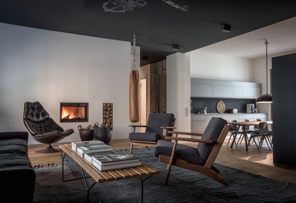 déco salon Wabi sabi 2020 cheminée encastrée fauteuil en cuir