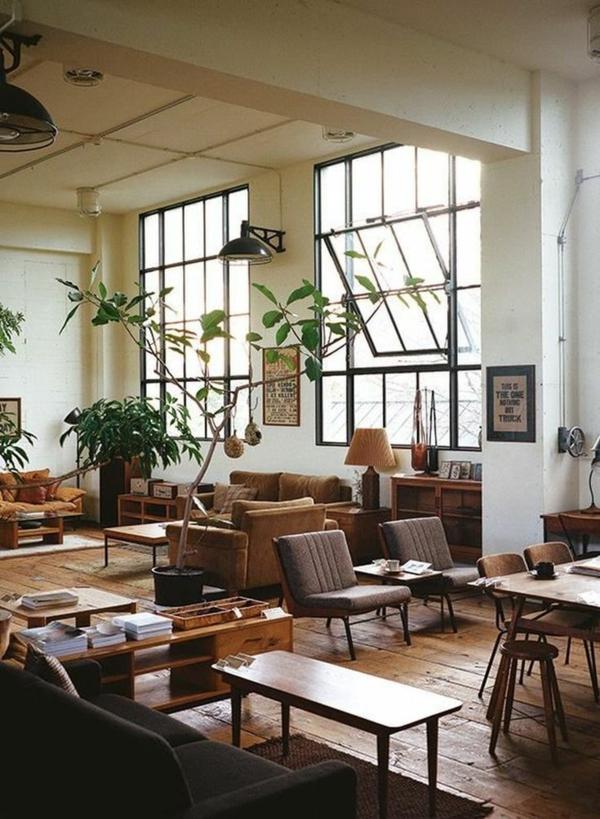 déco salon industriel 2020 mobilier simple bol en bois luminaires en métal