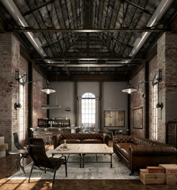 déco salon industriel 2020 tutaux apparents murs en briques table en bois et métal