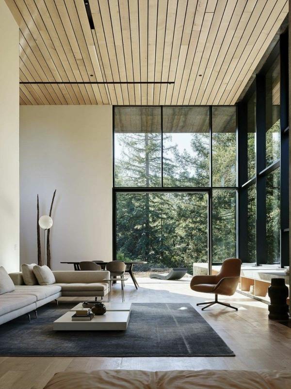 déco salon moderne 2020 sol et plafond en bois mobilier simple