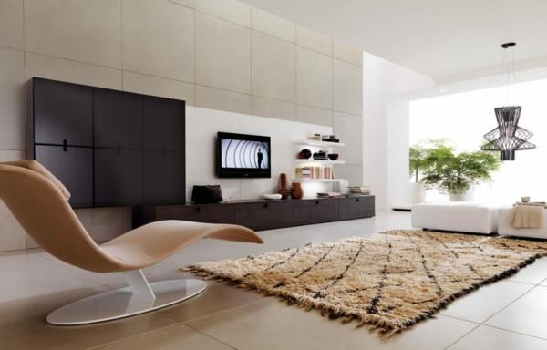 déco salon moderne 2020 tapis berbère chaise-longue design
