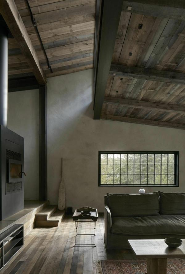 déco salon rustique 2020 plafond en bois poêle à bois