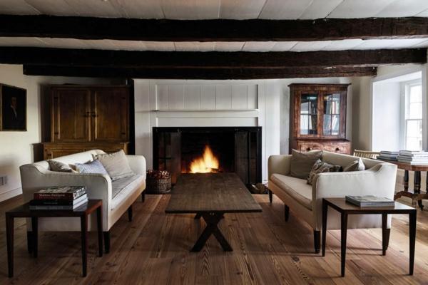 déco salon rustique 2020 poutre apparentes sol en bois cheminée