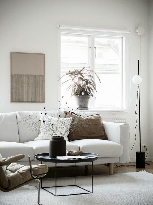 déco salon scandinave 2020 murs blancs table de café ronde en métal