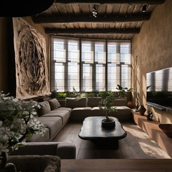 déco salon wabi sabi 2020 table basse en pierre plantes vivantes