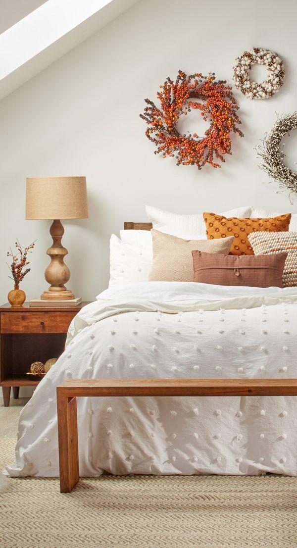 décoration d'automne fait maison dans la chambre à coucher