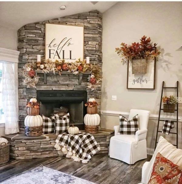 décoration d'automne fait maison guirlande et bouquet