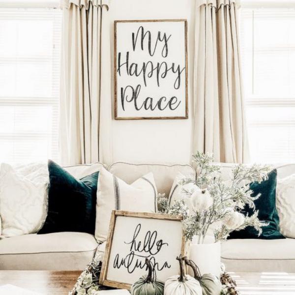 décoration d'automne fait maison heureux à la maison