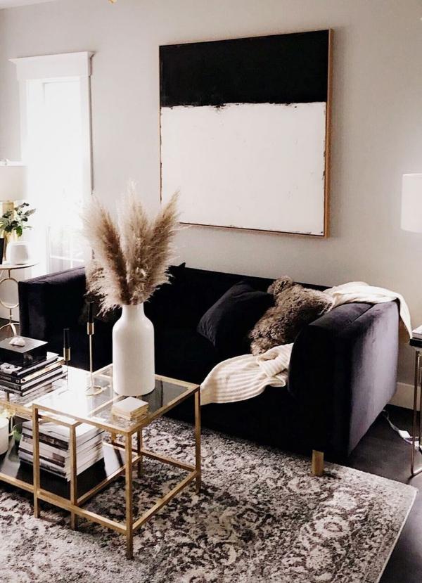 décoration d'automne fait maison noir et blanc