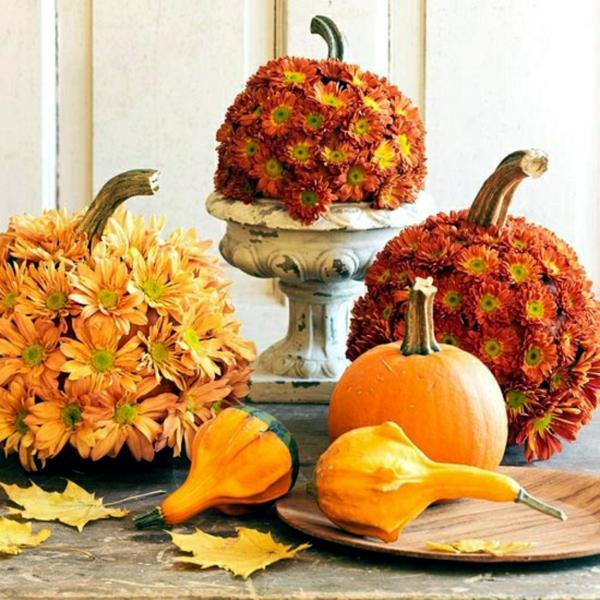 décoration florale automne chrysanthèmes citrouilles