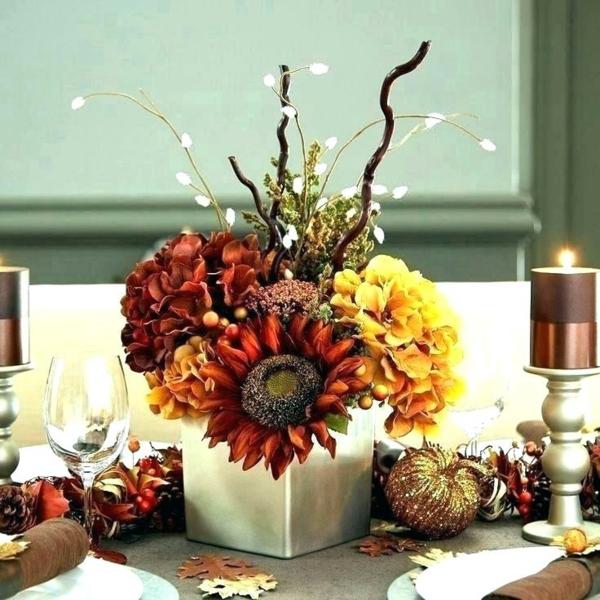 décoration florale automne hortensias tournesol branchage