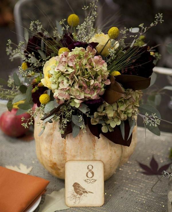 décoration florale automne table de mariage citrouille hortensias
