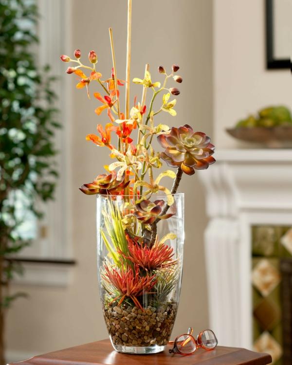 décoration florale automne terrarium plantes succulentes