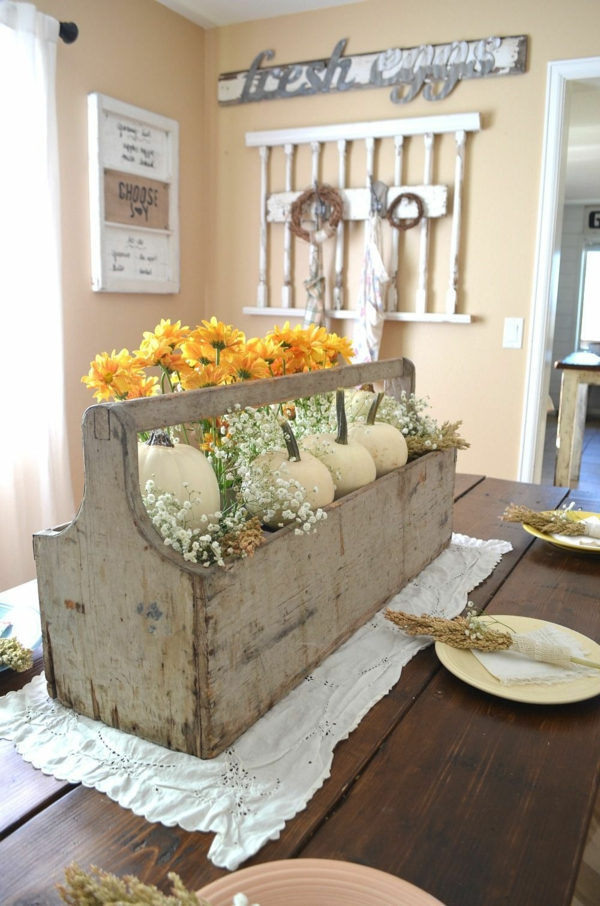 décoration florale de table automne jardinière citrouilles