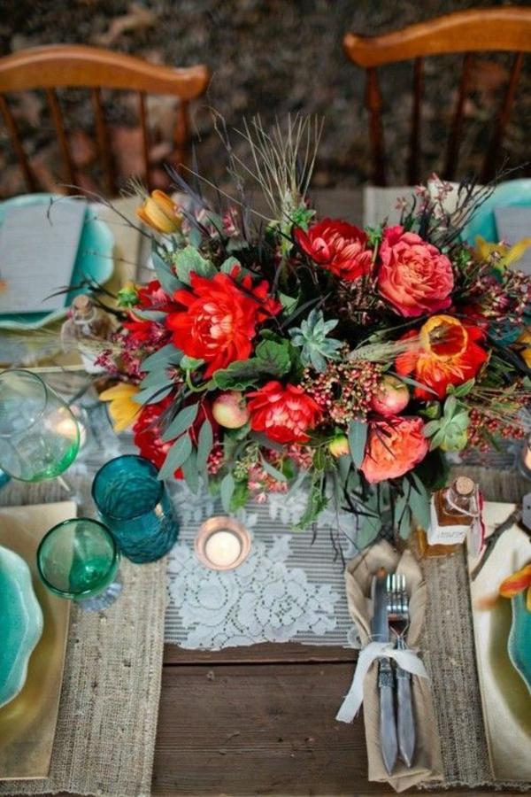 décoration florale de table automne mariage boho