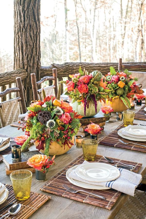 décoration florale pour table d'automne citrouilles fleurs