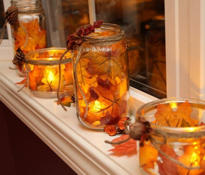 diy pot à bougie idée activités manuelles automne