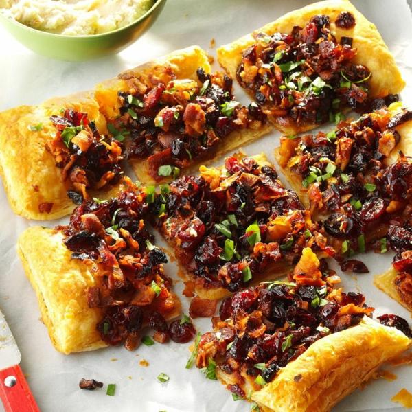 feuilleté apéro galette aux canneberges et au bacon