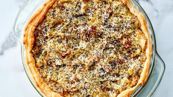 feuilleté apéro tarte aux poireaux fenouil et pavot