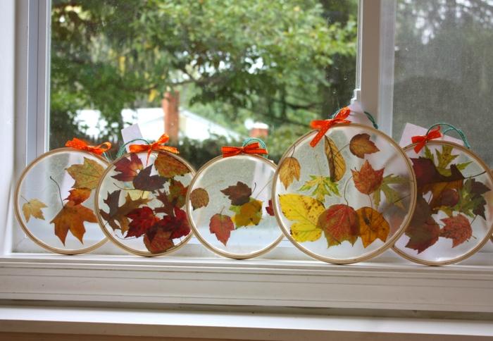 idée avec un tambour à broder activités manuelles automne