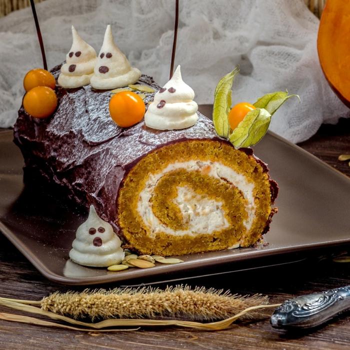 idée déco gâteau à la citrouille rouleau