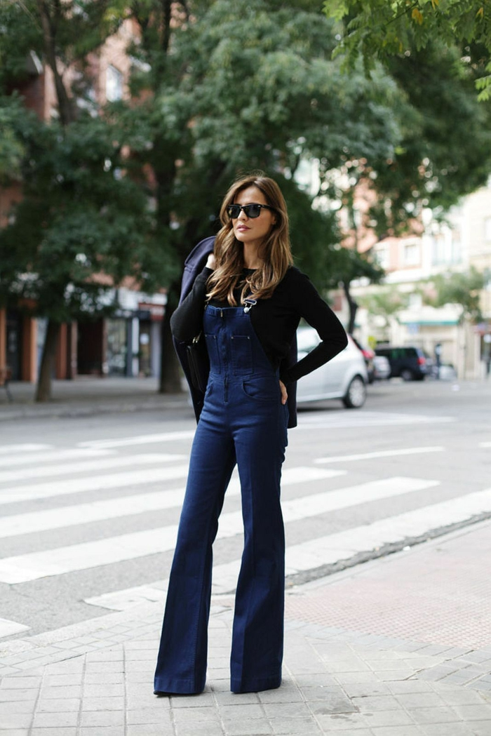 jean flare femme combinaison moderne