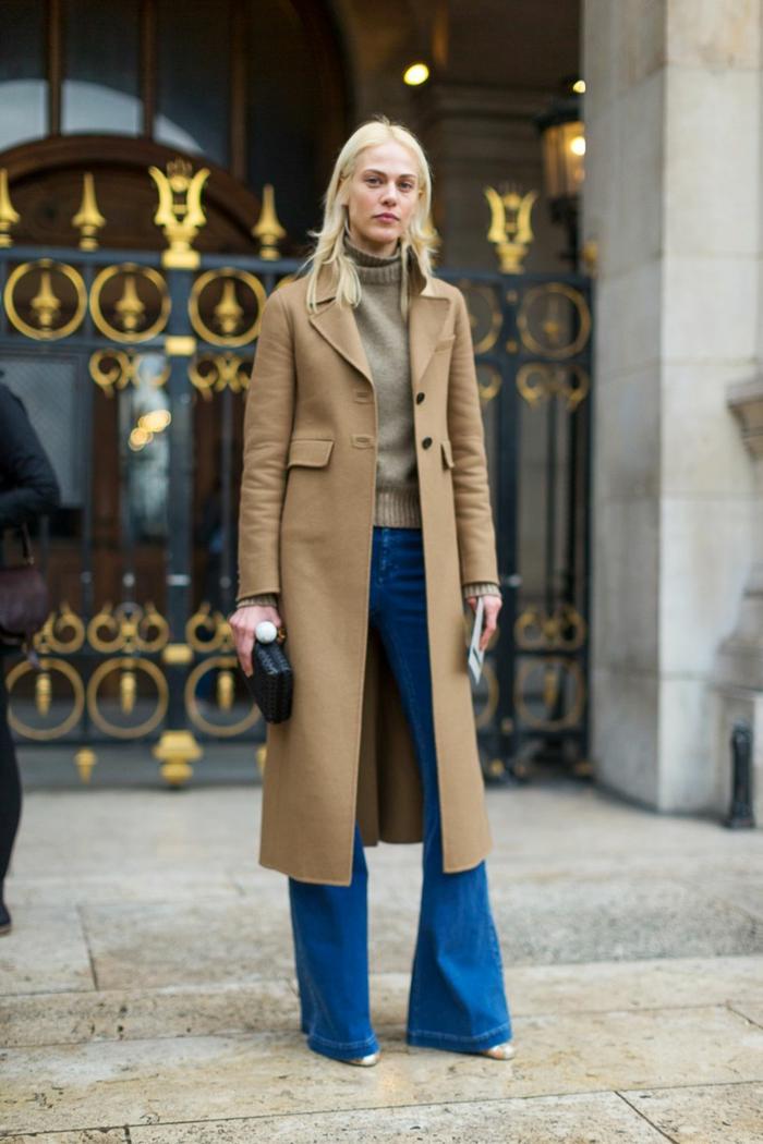 jean flare femme et manteau long