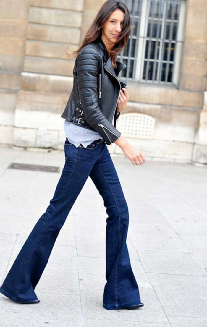 jean flare femme et veste en cuir