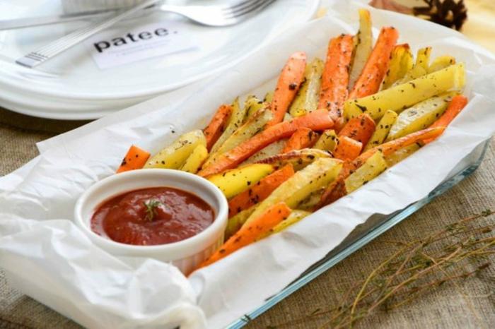 légumes et Frites de patates douces