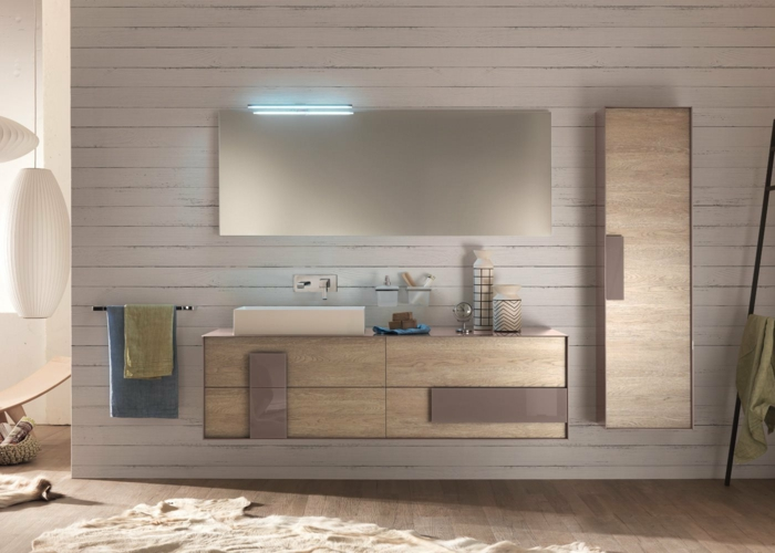 meubles fixés au mur petite salle de bains