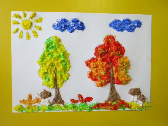 peinture originale avec de la mousse à raser colorée activités manuelles automne