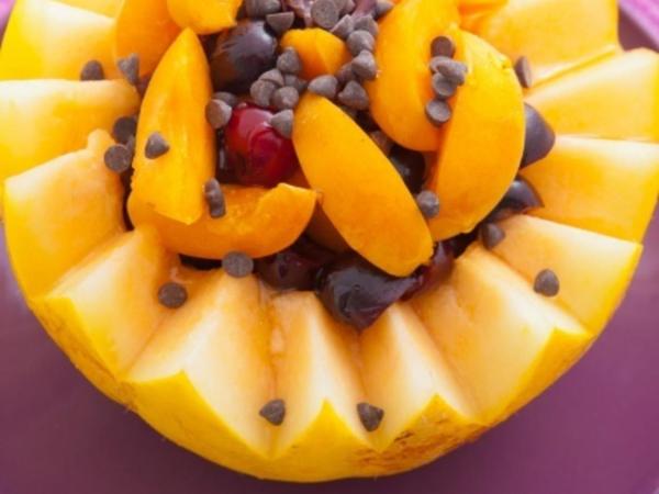 recette avec melon coupé joliment