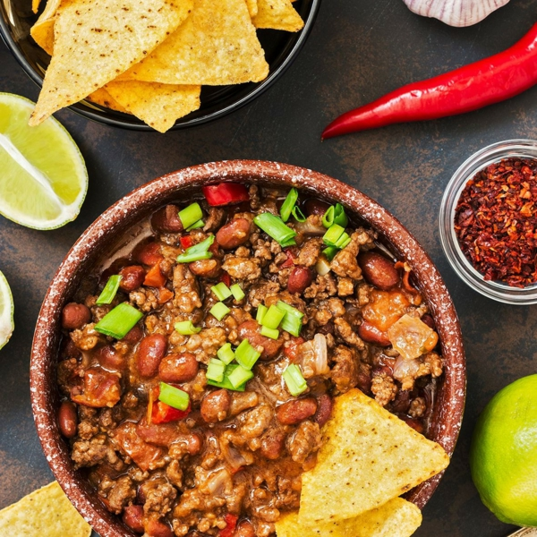 recette chili cone carne et chips de tortilla