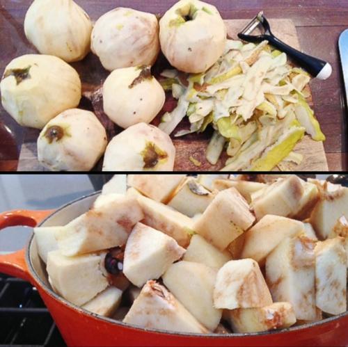 recette gelée de coing laver éplucher et couper les fruits