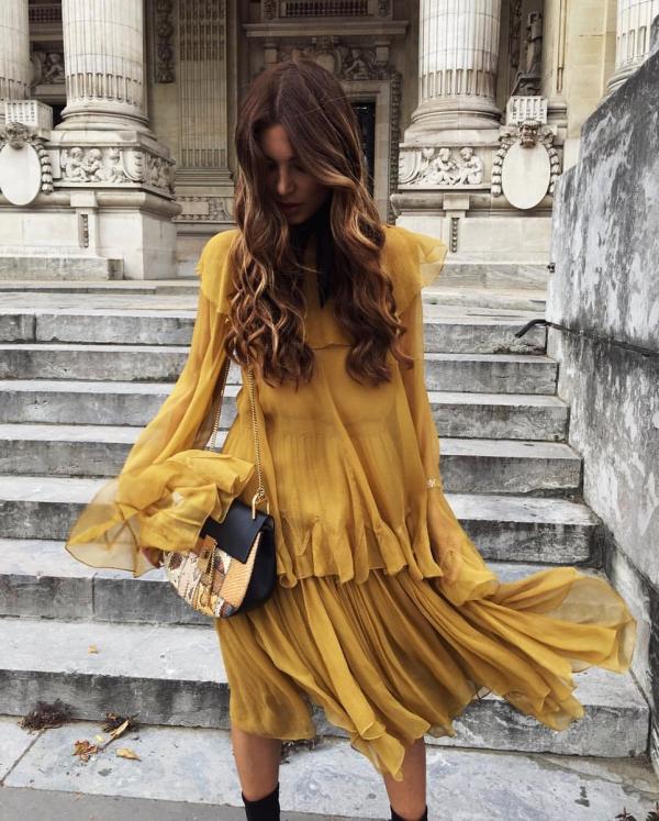 robe élégante automne 2019 couleur ochre