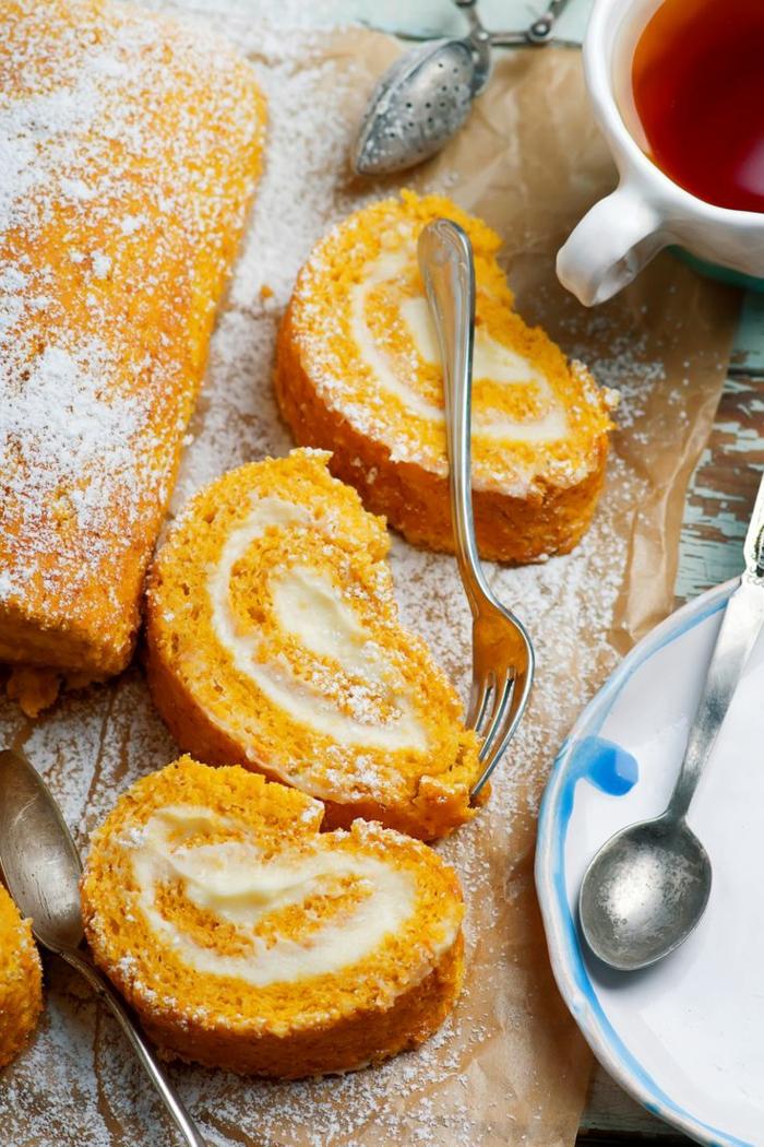 rouleau gâteau à la citrouille