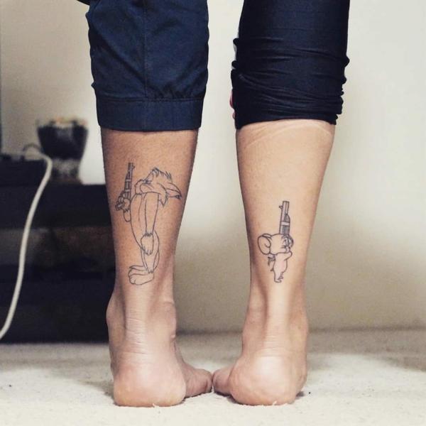 tatouage complémentaire Tom et Jerry pour couple