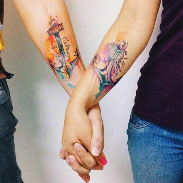 tatouage complémentaire ancre pour couple