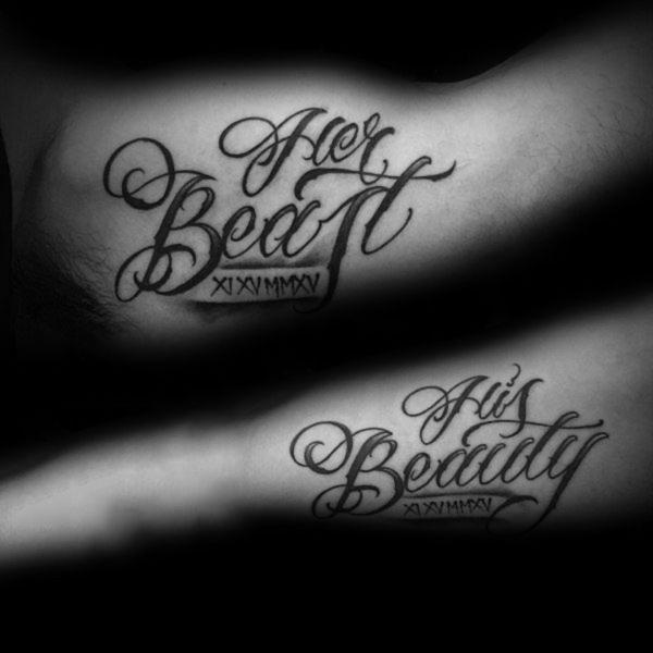 tatouage complémentaire la belle et le bête pour couple