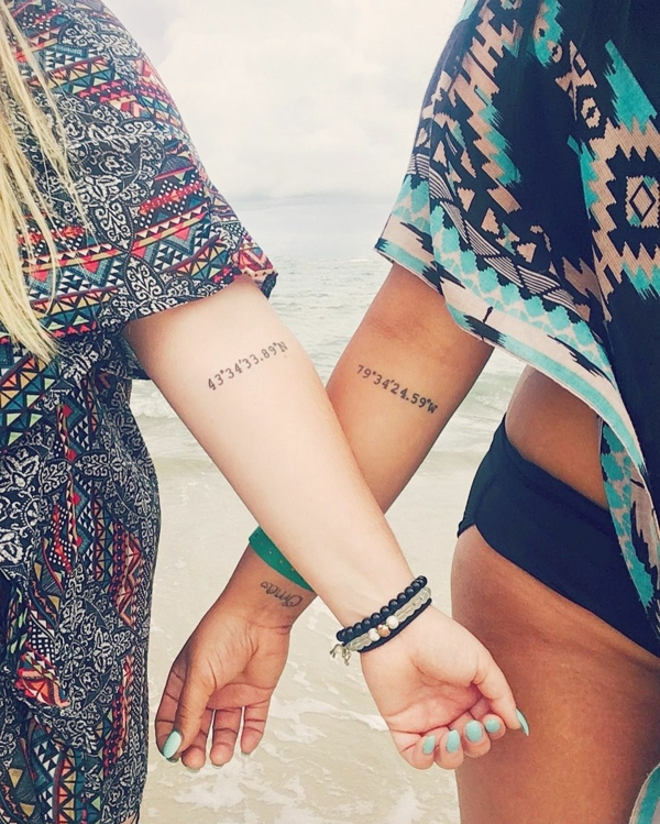 tatouage complémentaire meilleures amies coordonnées géographiques