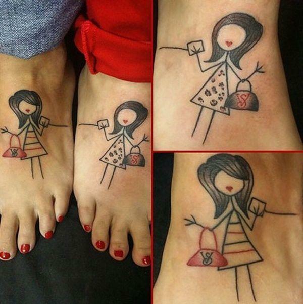 tatouage complémentaire motif féminin pour soeurs