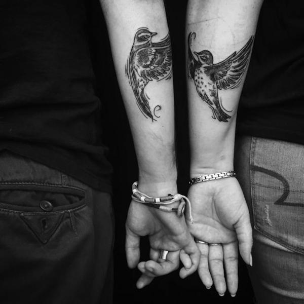 tatouage complémentaire oiseau couple