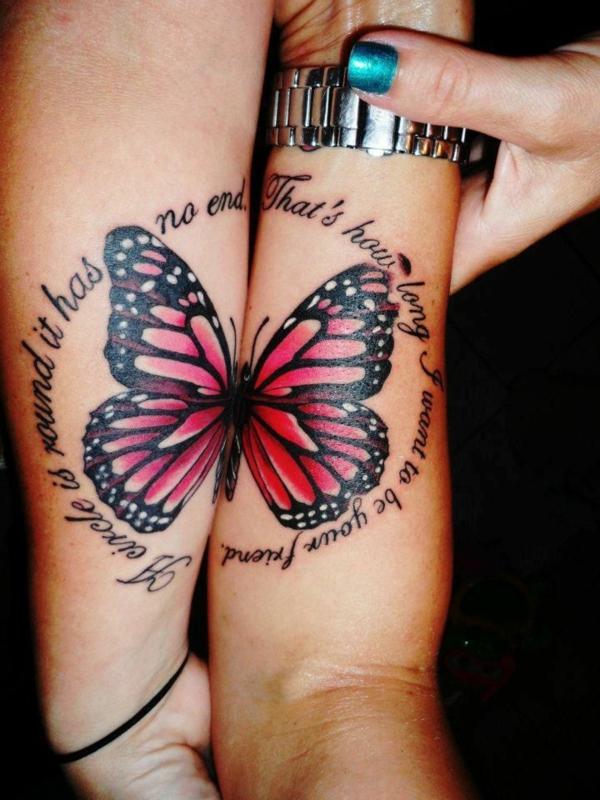 tatouage complémentaire pour amies papillon