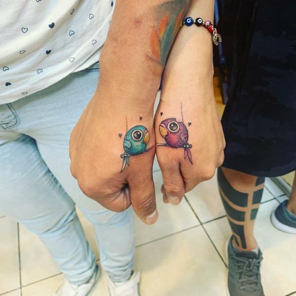 tatouage complémentaire pour couple oiseaux