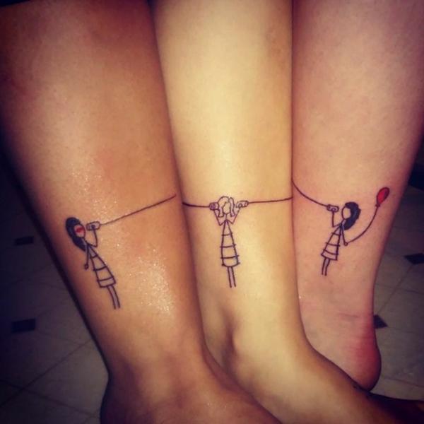 tatouage complémentaire pour soeurs motif féminin