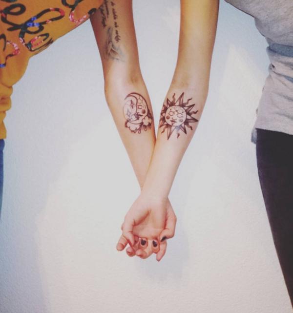 tatouage complémentaire soleil et lune meilleures amies