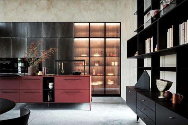 tendances cuisine 2020 armoires vitrées mobilier en noir et rouge tamisé